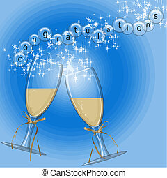 congratulations vector with champagne in glasses and written...