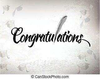 Congratulations with mortar board hats. - Congratulations...