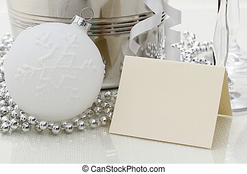 Congratulations writing card with Christmas ball, beads, glasses