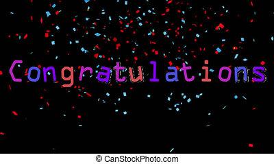 Congratulations written on black background with confetti