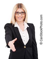congratulations!, zaufany, dojrzały, kobieta interesu, rozciąganie, poza, ręka, dla, potrząsanie, i, uśmiechanie się, znowu, reputacja, odizolowany, na białym