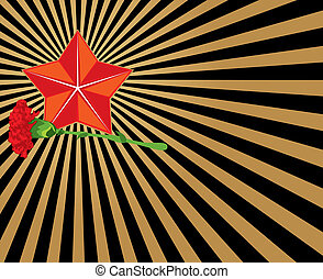 Congratulatory background with a star and a carnation
