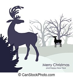 Congratulatory background with winter forest and deer