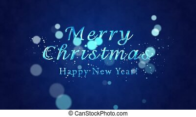 Congratulatory Christmas video card. Decorative ice text, confetti. Artistic intro (introductory template). Christmas, New Year. 3D animation.