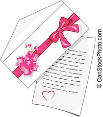 Congratulatory letter to Valentines Day. Vector illustration