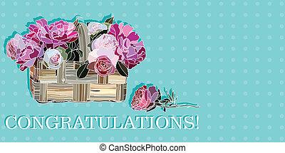 congratulazione, con, rose, in, uno, cesto