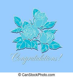 , congratulazione, rose