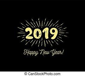 congratulazione, sunbursts, illustrazione, year., vettore, nuovo, 2019., felice