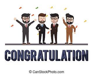 congratulazione, uomini affari
