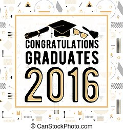 congratulazioni, disegno, seamless, illustrazione, laureati, vettore, graduazioni, graduazione, fondo, di, hipster, geometrico, 2016, festa., classe, scheda