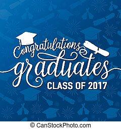 congratulazioni, seamless, laureati, vettore, graduazioni, fondo, 2017, classe