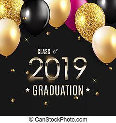 congratulazioni, su, graduazione, 2019, classe, fondo, illustrazione