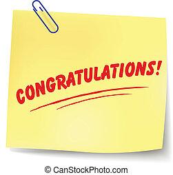 congratulazioni, vettore, messaggio