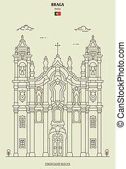 Congregados Basilica in Braga, Portugal. Landmark icon in linear style