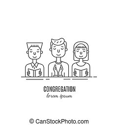Congregation line icon - Vector congregation pray with...