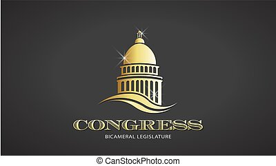 Congress Gold Capitol Icon. Vector Deisgn