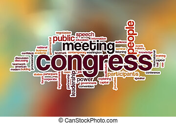 Congress word cloud with abstract background