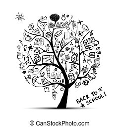 conhecimento, conceito, árvore, escola, desenho, seu
