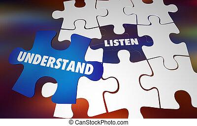 conhecimento, quebra-cabeça, ilustração, entenda, palavras, aprender, escutar, 3d