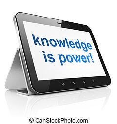 conhecimento, tabuleta, power!, computador pc, educação, concept: