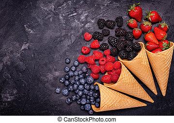 coni, bacche, crema, ghiaccio, rustico, varietà, fondo