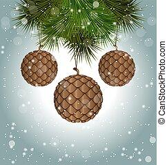 coni, come, natale, palle, appendere, pino, rami, in, nevicata
