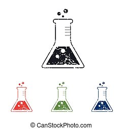 Conical flask grunge icon set - Colored grunge icon set with...