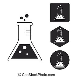 Conical flask icon set, monochrome, isolated on white