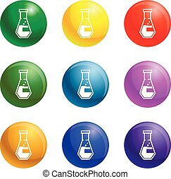 Conical flask icons set vector