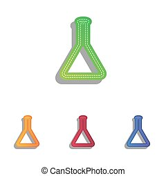 Conical Flask sign. Colorfull applique icons set.