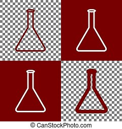 Conical Flask sign. Laboratory glass sign. Vector. Bordo and...
