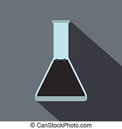 Conical flask test tube with oil flat icon