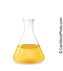 Conical flask with chemical colored solution and  bubbles