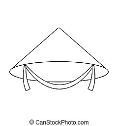 Conical hat icon in outline style isolated on white background. Hats symbol  stock vector illustration 1065e111e9a