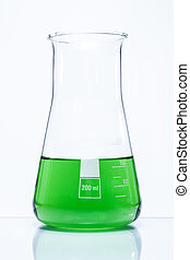 Conical temperature resistant flask with green liquid