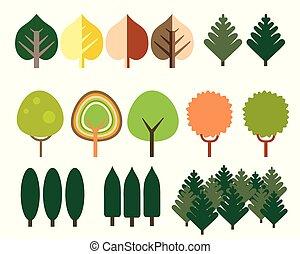 conifère, différent, ensemble, plat, espèce, isolé, arbres, à feuilles caduques, conception, fond, blanc