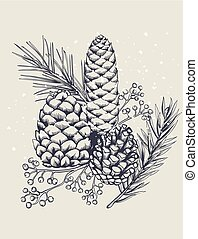Conifer cones with fir tree leaves and berries