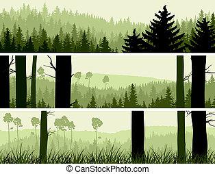 conifero, bandiere, colline, wood.