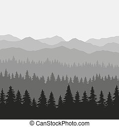 Coniferous Forest and Mountains Background. Vector...