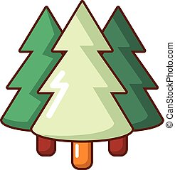 Coniferous forest icon, cartoon style - Coniferous forest...