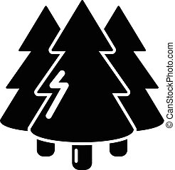Coniferous forest icon, simple style