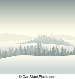 Coniferous forest in the morning. - Vector illustration of...
