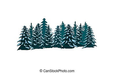 Coniferous forest isolated vector icon - Coniferous forest...