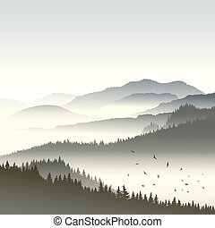 Coniferous forest on hills in fog. - Square illustration...