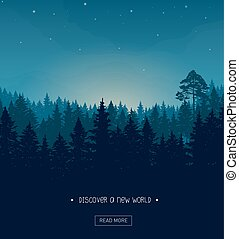 Coniferous forest silhouette template