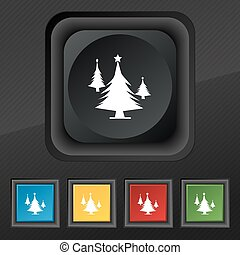 coniferous forest, tree, fir-tree icon symbol. Set of five colorful, stylish buttons on black texture for your design. Vector