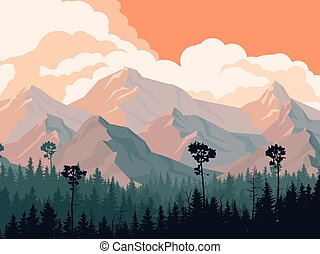 Coniferous forest with mountains. - Horizontal illustration...