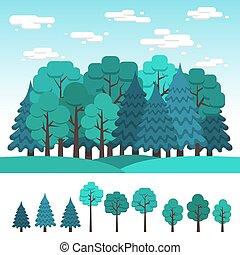coniferous, jogo, árvores, decíduo, desenho, paisagem