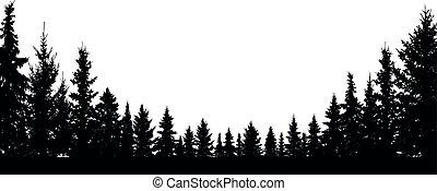 coniferous, silueta, árvores, vetorial, floresta, fundo, sempre-viva