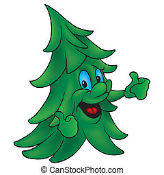 Coniferous Tree - Colored Cartoon Illustration, Vector